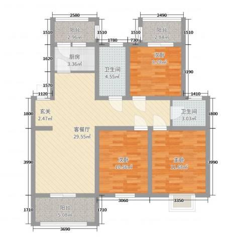 奥林晴园3室2厅2卫1厨82.40㎡户型图