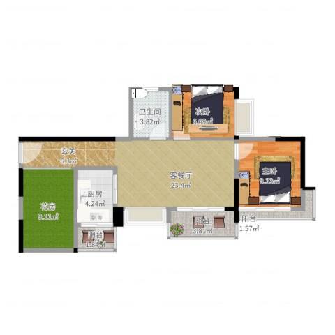中惠金士柏山2室2厅1卫1厨91.00㎡户型图