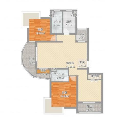 宏润韶光花园2室2厅2卫1厨119.00㎡户型图