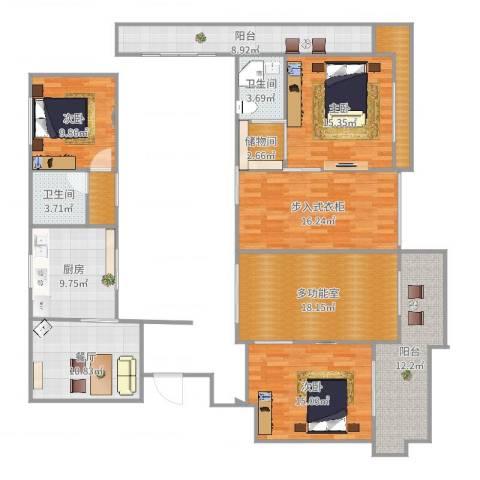 虎豹郡王府3室1厅2卫1厨164.00㎡户型图