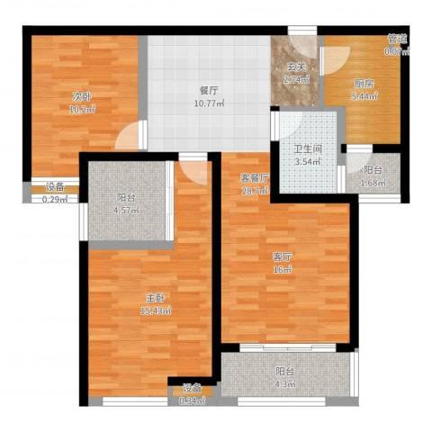 中海曲江碧林湾2室2厅1卫1厨93.00㎡户型图