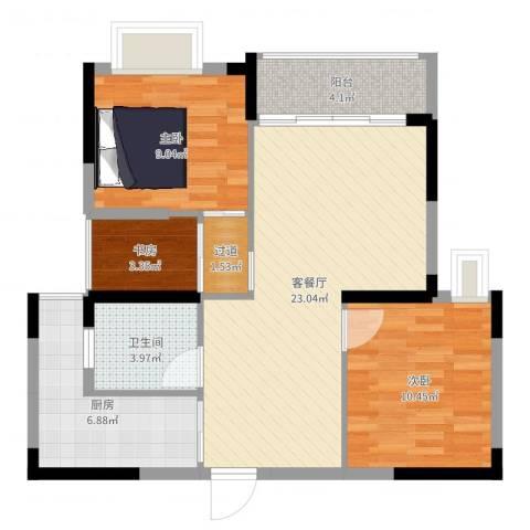 春华星运城3室2厅1卫1厨78.00㎡户型图