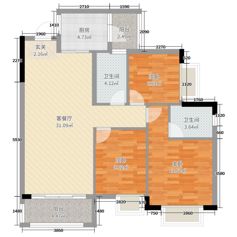 金龙居100.04㎡2栋2-8标准层02户型3室3厅2卫1厨