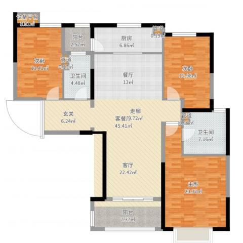 西派国际3室2厅2卫1厨152.00㎡户型图