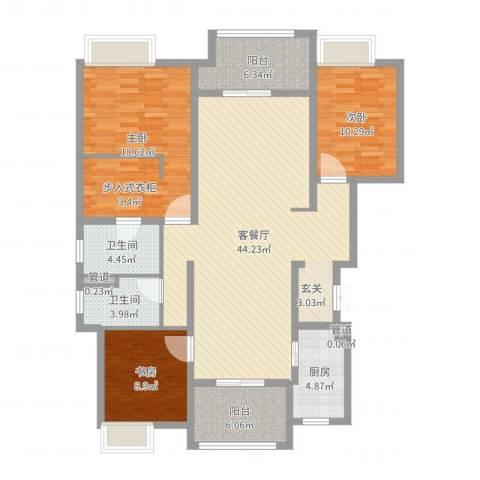 保利紫荆公馆3室2厅2卫1厨135.00㎡户型图