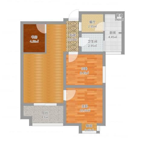 万象湾3室1厅2卫1厨76.00㎡户型图