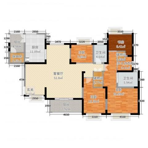 海门东恒盛国际公馆4室2厅2卫1厨190.00㎡户型图