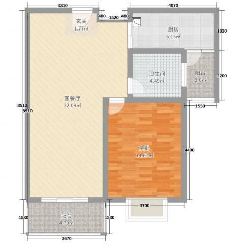 城东雅苑1室2厅1卫1厨81.00㎡户型图