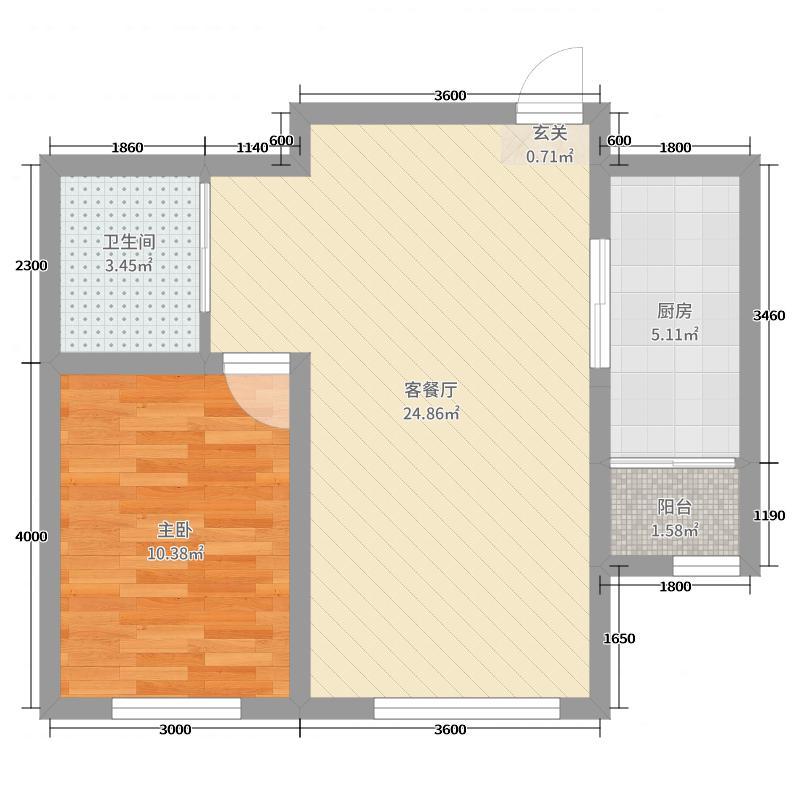 中冶蓝城65.28㎡一期7#楼C11户型1室1厅1卫