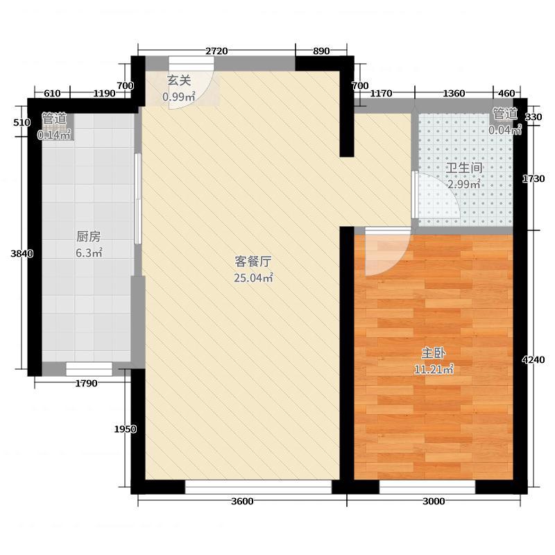 中冶蓝城73.99㎡17号楼C9户型1室1厅1卫1厨