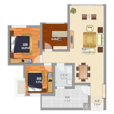 恒森・摩登时代3室2厅1卫1厨86.00㎡户型图