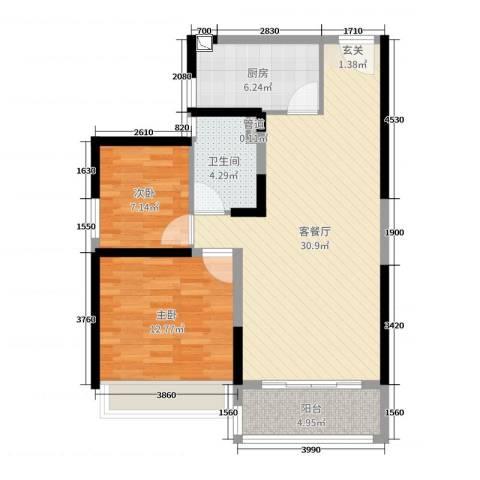 碧桂园城市花园2室2厅1卫1厨83.00㎡户型图