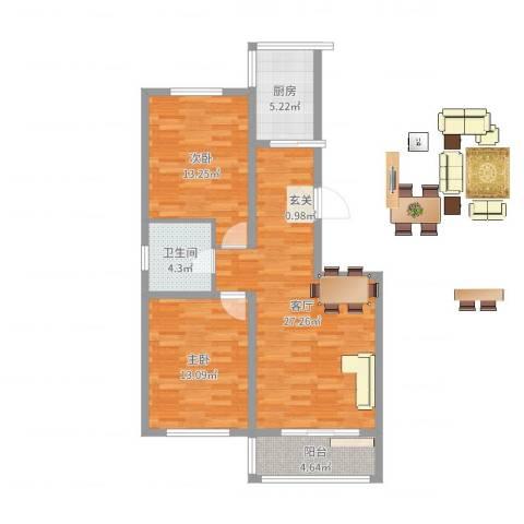 龙源三期2室1厅1卫1厨85.00㎡户型图