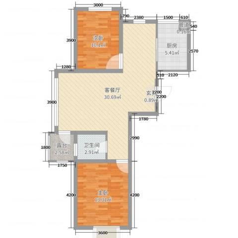 利源幸福��2室2厅1卫1厨86.00㎡户型图