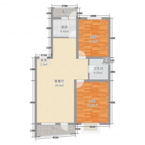 利源幸福��2室2厅1卫1厨99.00㎡户型图
