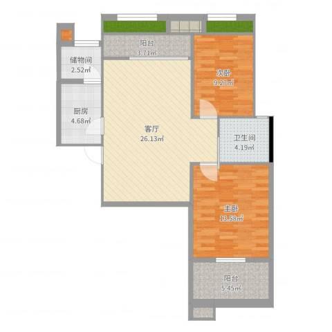 河滨花园2室1厅1卫1厨84.00㎡户型图