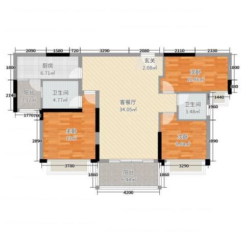 碧桂园城市花园3室2厅2卫1厨117.00㎡户型图