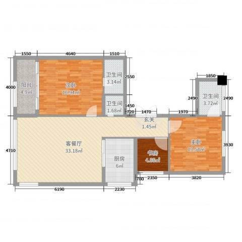 华鸿・温州大公馆3室2厅3卫1厨110.00㎡户型图