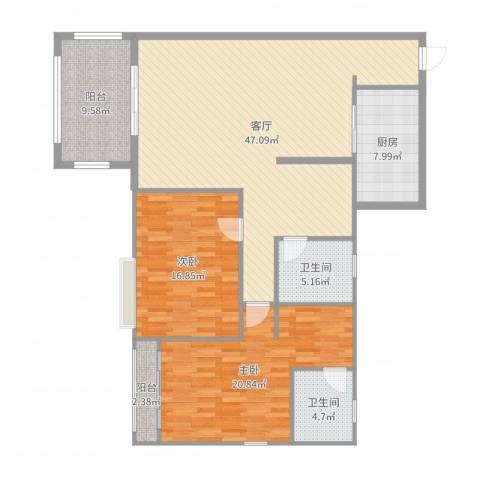 金华花园2室1厅2卫1厨143.00㎡户型图
