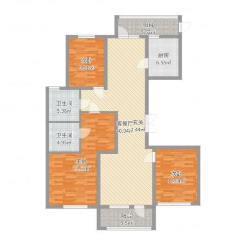 山东高速绿城・玉兰花园3室2厅2卫1厨141.00㎡户型图