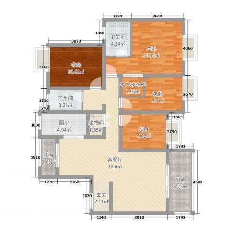 商城凤凰印象4室2厅2卫1厨150.00㎡户型图