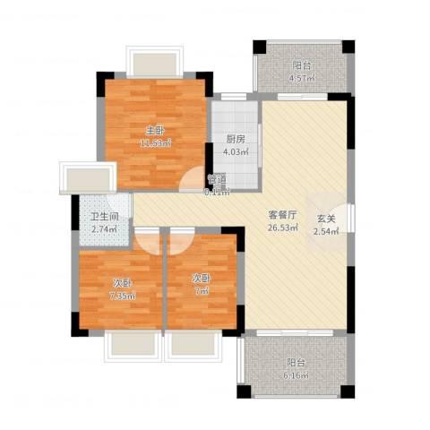 山水芳邻3室2厅1卫1厨88.00㎡户型图