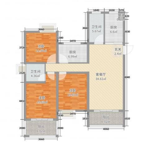 南山湖1号3室2厅2卫2厨140.00㎡户型图