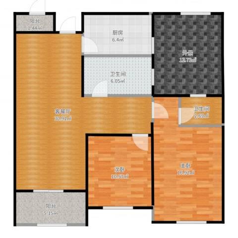 华鼎君临阁2室2厅2卫1厨116.00㎡户型图