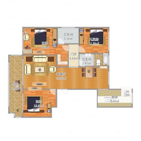 济南领秀城3室2厅2卫1厨147.00㎡户型图