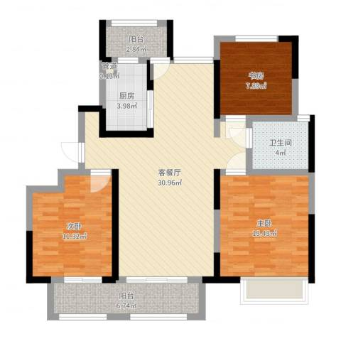 绿地中央广场3室2厅1卫1厨102.00㎡户型图