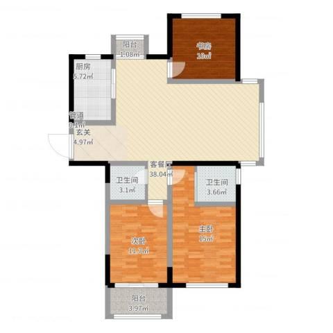世纪华城3室2厅2卫1厨133.00㎡户型图
