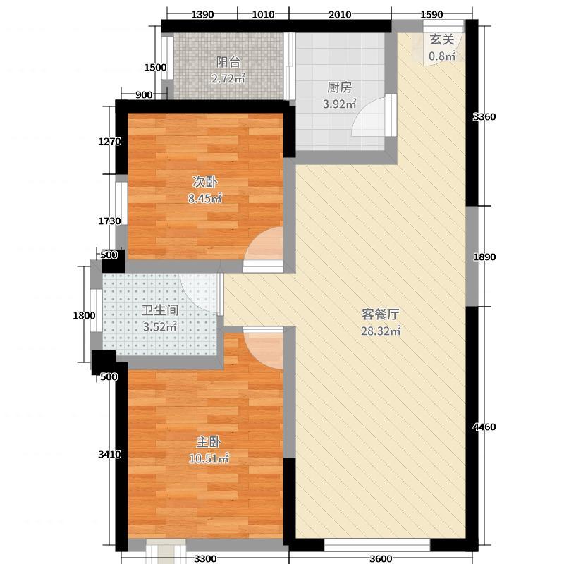 北城新天地83.08㎡A4户型2室2厅1卫1厨