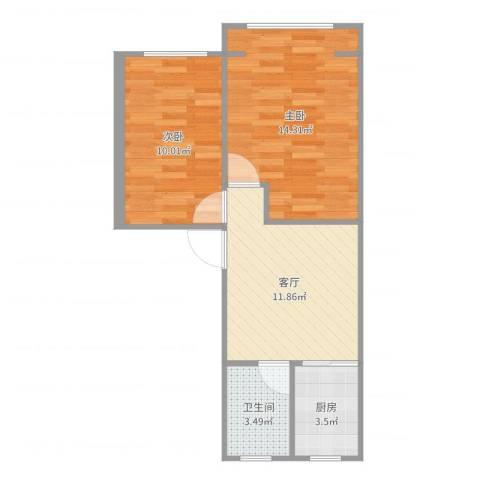 真光八街坊2室1厅1卫1厨54.00㎡户型图