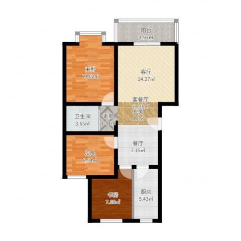 七色镇3室2厅1卫1厨88.00㎡户型图