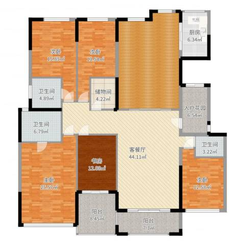 金海岸名邸5室2厅3卫1厨254.00㎡户型图