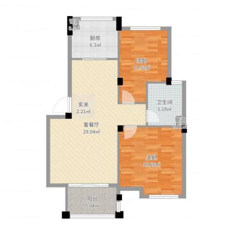 龙山山庄2室2厅1卫1厨90.00㎡户型图