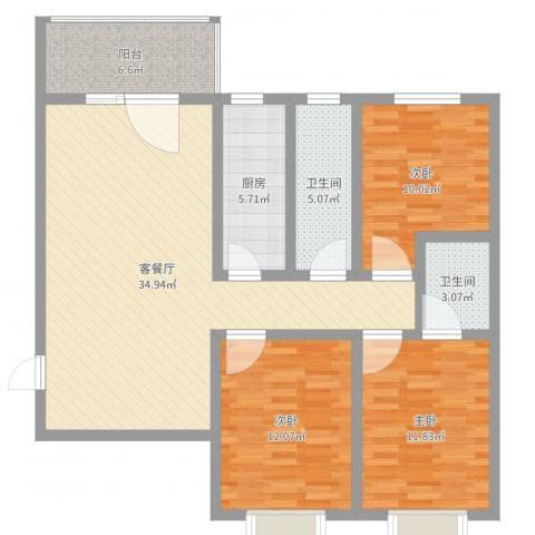 西溪里象牙湾3室2厅2卫1厨112.00㎡户型图