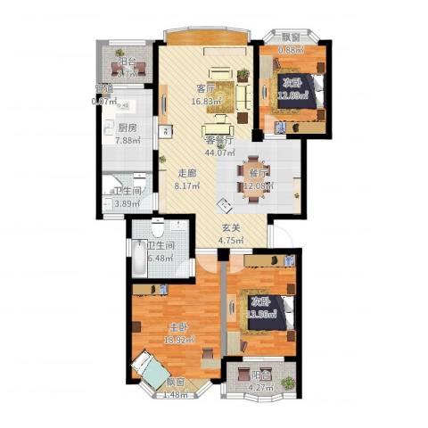 锦泰家园3室2厅2卫1厨144.00㎡户型图