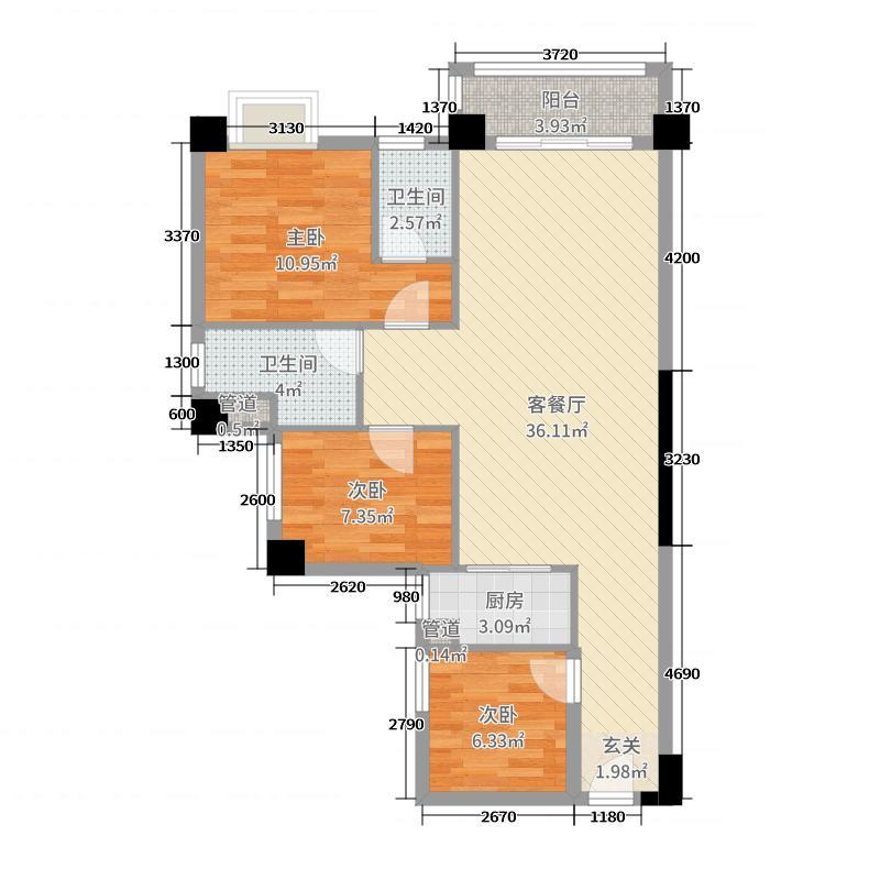 侨园・黄金海岸102.75㎡一期12/13栋01/02单位户型3室3厅2卫1厨