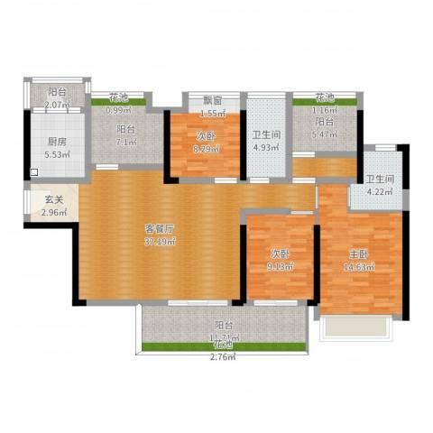 中洲天御花园3室2厅2卫1厨140.00㎡户型图