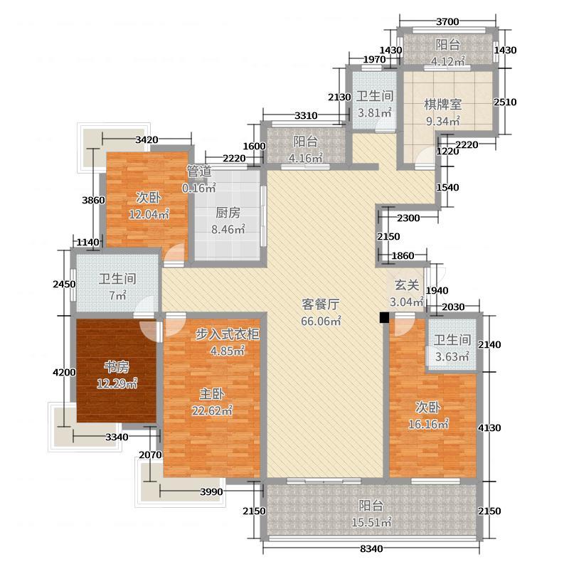 南山湖1号229.00㎡8#A户型5室5厅3卫1厨