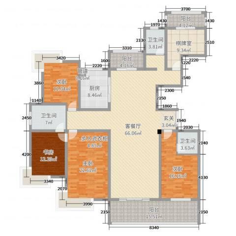 南山湖1号4室2厅3卫1厨229.00㎡户型图