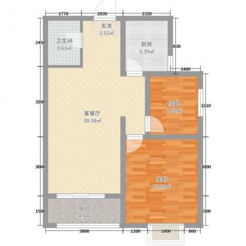 紫气东来2室2厅1卫1厨95.00㎡户型图