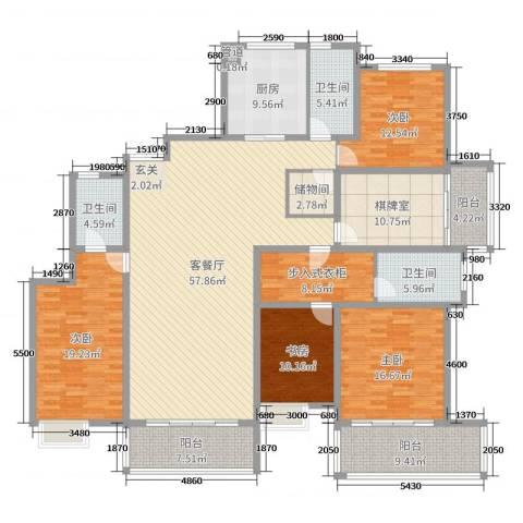 南山湖1号4室2厅3卫1厨236.00㎡户型图