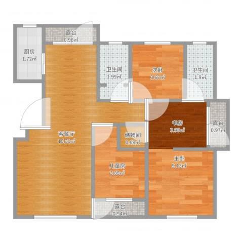 中信城浅山3室2厅2卫1厨51.00㎡户型图