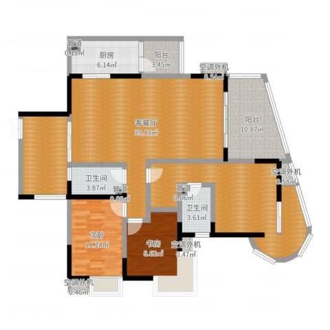 育才竹岛2室2厅2卫1厨153.00㎡户型图