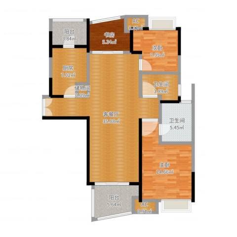 慧芝湖花园二期3室2厅2卫1厨115.00㎡户型图