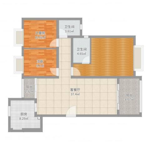 广场花园2室2厅3卫1厨130.00㎡户型图