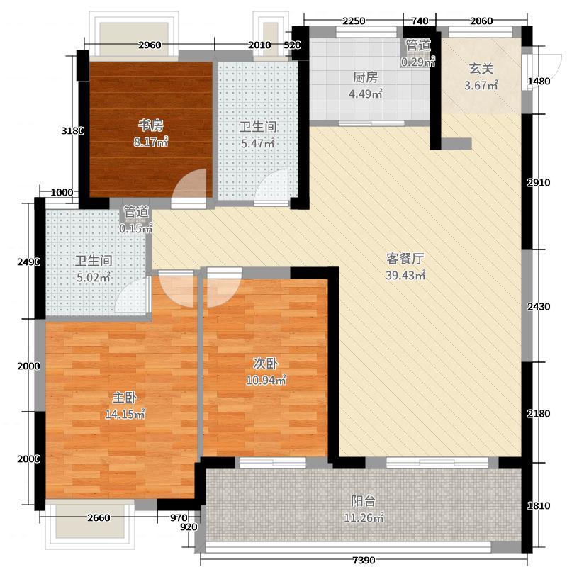 华润中心万象城123.00㎡19#20#户型3室3厅2卫1厨