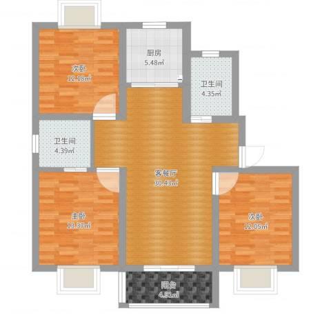 顾村大家园C区3室2厅2卫1厨109.00㎡户型图